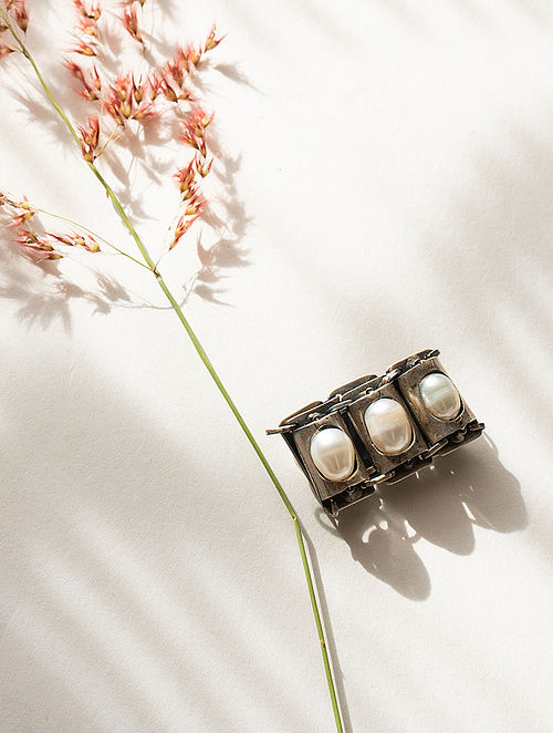 Tribal Silver Adjustable Ring with Freshwater Pearls