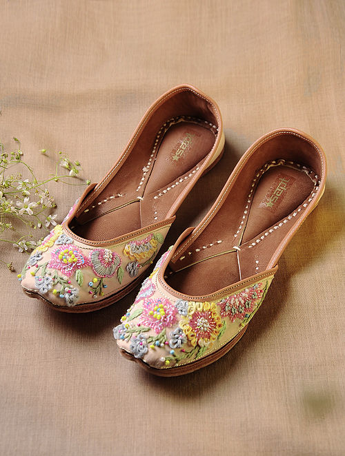 Pink Hand Embroidered Faux Leather Juttis