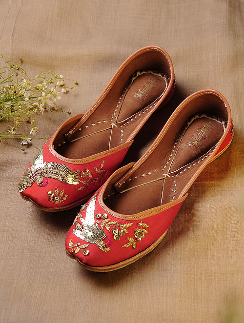 Red Hand Embroidered Faux Leather Juttis