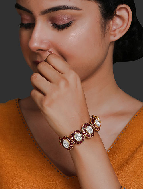 Maroon Gold Plated Vellore Polki Silver Bracelet