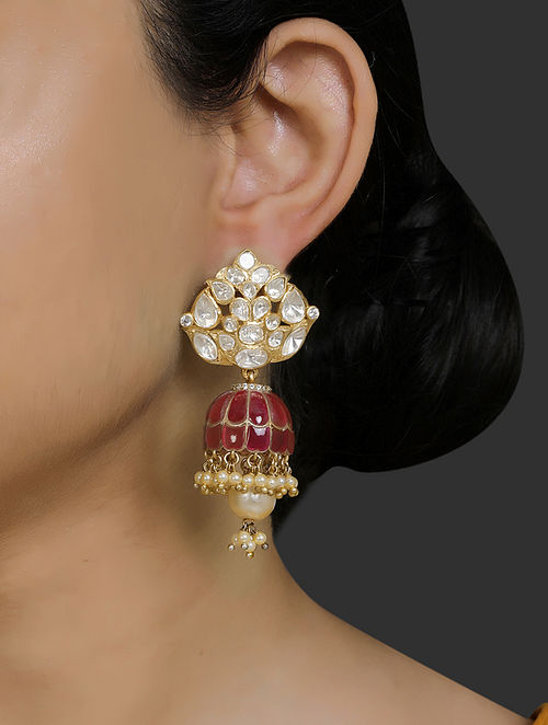 Maroon Gold Plated Vellore Polki Silver Earrings