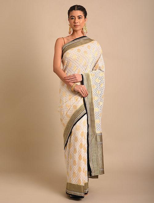White Handwoven Benarasi Chiffon Saree