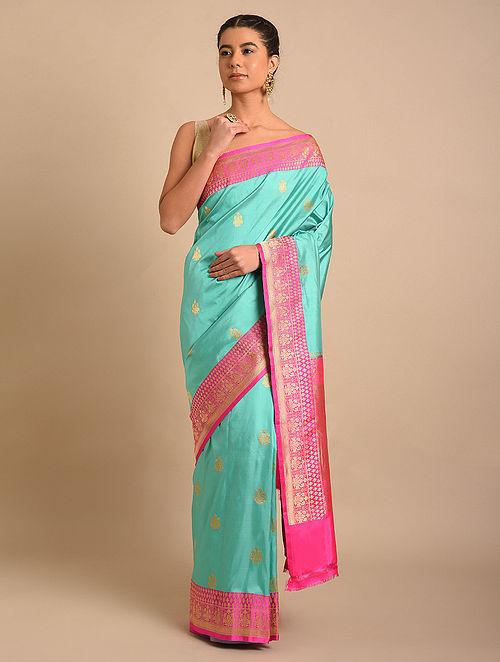 Blue-Pink Handwoven Benarasi Silk Saree