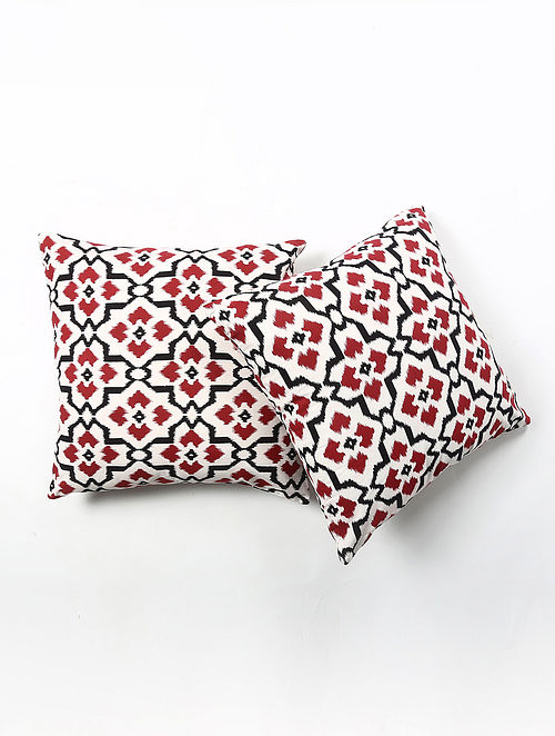 Contrast Living Ikhat Cotton Printed Cushion Covers (Set of 2) (20in x 20in)