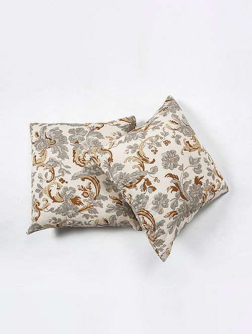 Contrast Living Lorenw Cotton Printed Cushion Covers (Set of 2) (20in x 20in)
