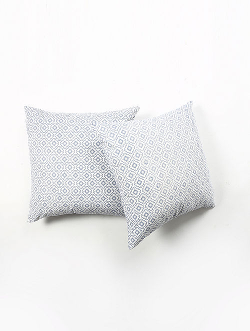 Contrast Living Darlen Cotton Printed Cushion Covers (Set of 2) (20in x 20in)