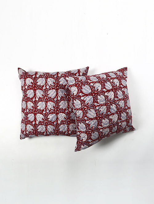 Contrast Living Hanies Cotton Printed Cushion Covers (Set of 2) (20in x 20in)