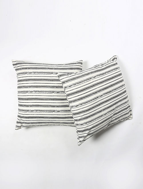 Contrast Living Stripe Kalis Cotton Printed Cushion Covers (Set of 2) (20in x 20in)