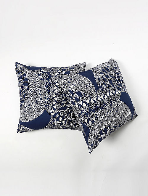 Contrast Living Siamak Cotton Printed Cushion Covers (Set of 2) (20in x 20in)