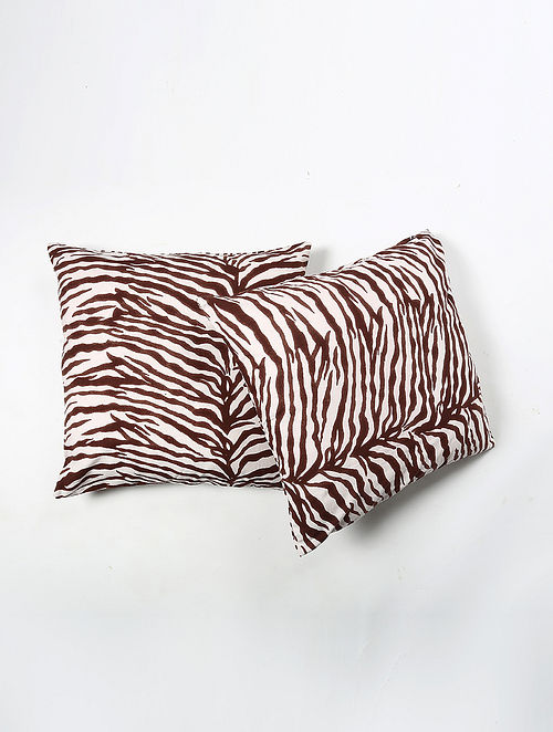 Contrast Living Sushim Cotton Printed Cushion Covers (Set of 2) (20in x 20in)