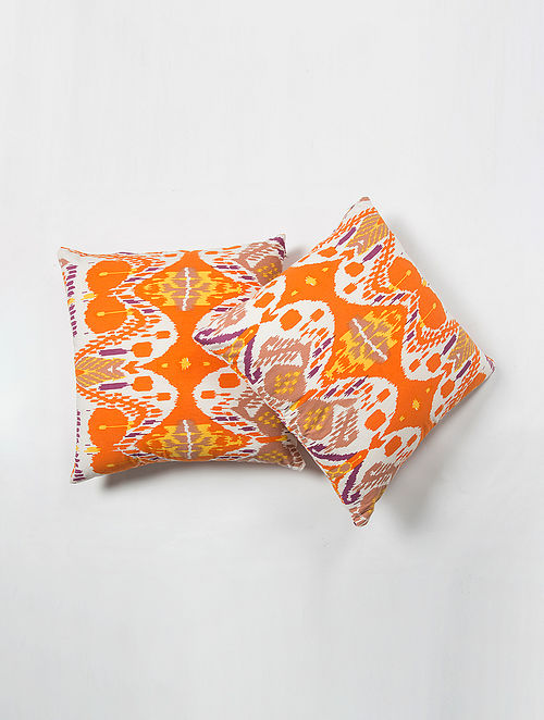 Contrast Living Uirpe Ikhat Cotton Printed Cushion Covers (Set of 2) (20in x 20in)