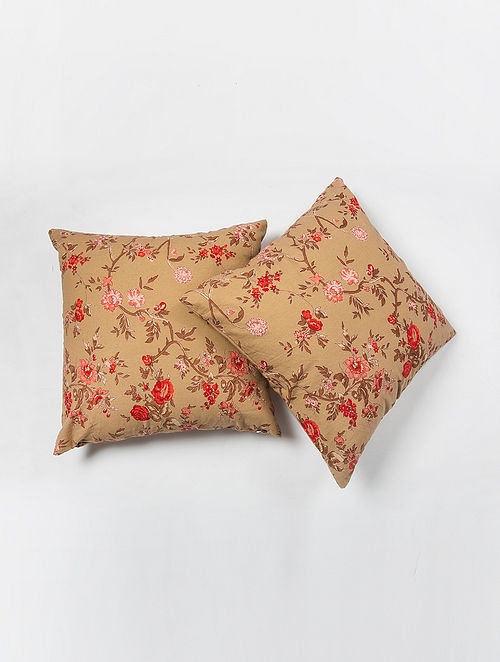 Contrast Living Jessi Cotton Printed Cushion Covers (Set of 2) (20in x 20in)