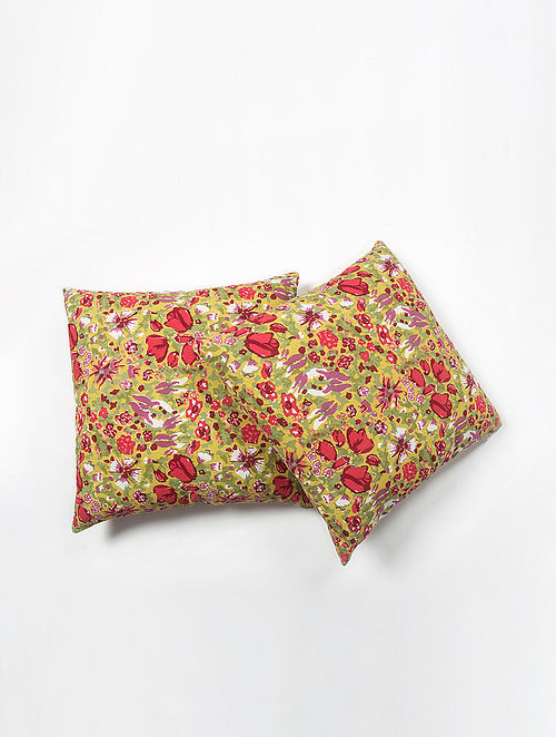 Contrast Living Rupan Cotton Printed Cushion Covers (Set of 2) (20in x 20in)