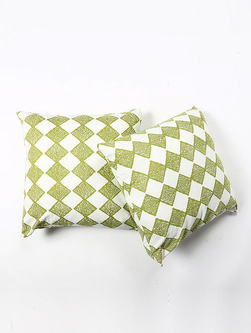Contrast Living Hiteis Cotton Printed Cushion Covers (Set of 2) (20in x 20in)