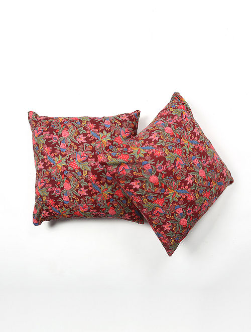 Contrast Living Rajen Cotton Printed Cushion Covers (Set of 2) (20in x 20in)