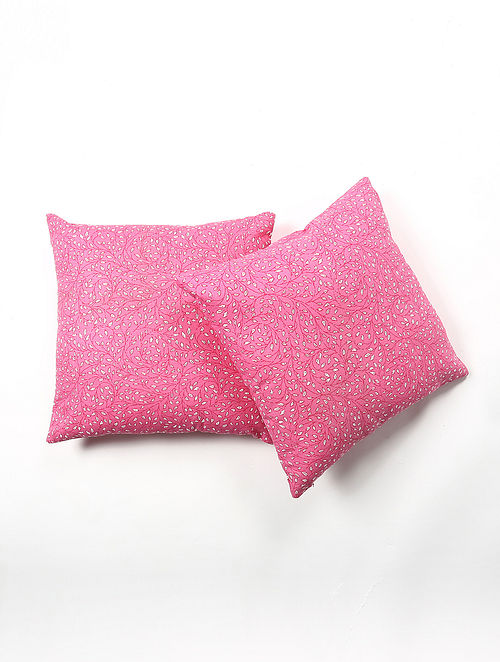 Contrast Living Pilord Cotton Printed Cushion Covers (Set of 2) (20in x 20in)