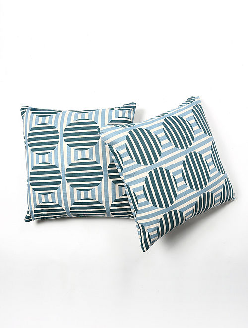 Contrast Living Kulesh Cotton Printed Cushion Covers (Set of 2) (20in x 20in)