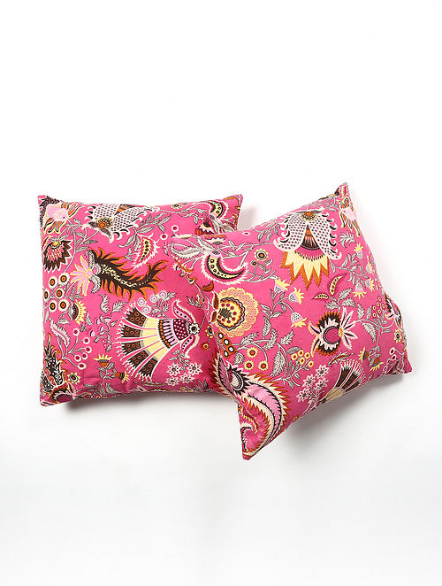 Contrast Living Rumei Cotton Printed Cushion Covers (Set of 2) (20in x 20in)