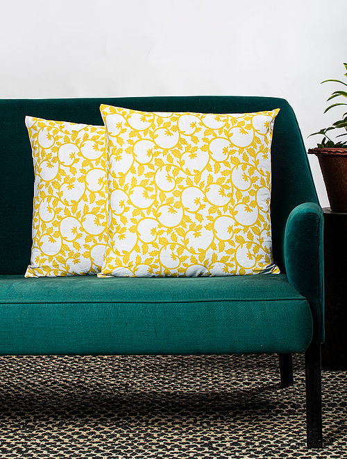 Contrast Living Porie Cotton Printed Cushion Covers (Set of 2) (20in x 20in)
