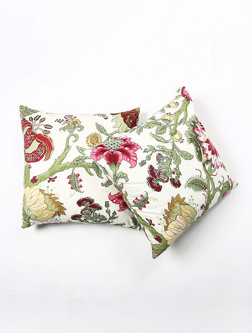 Contrast Living Orine Cotton Printed Cushion Covers (Set of 2) (20in x 20in)