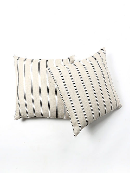 Contrast Living Hupie Linen Printed Cushion Covers (Set of 2) (20in x 20in)