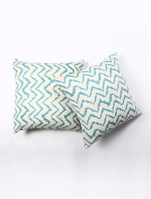Contrast Living Quiren Linen Printed Cushion Covers (Set of 2) (20in x 20in)