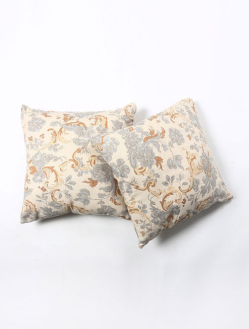 Contrast Living Kroinspie Linen Printed Cushion Covers (Set of 2) (20in x 20in)
