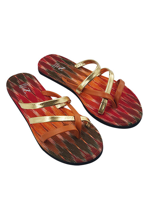 Gold Handcrafted Ikat Cotton Leather Flats