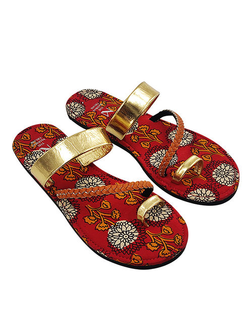 Gold Hand Block Printed Cotton Leather Flats