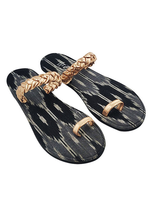Copper Handcrafted Ikat Cotton Leather Flats