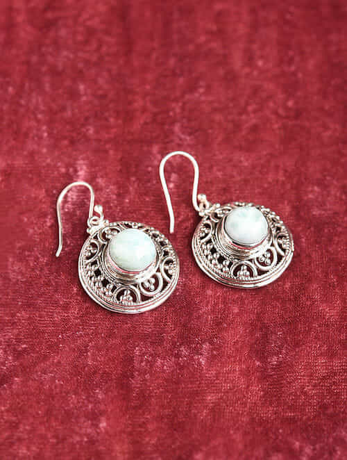 Silver Earrings With Larimar