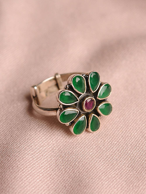 Adjustable Silver Ring with Green onyx