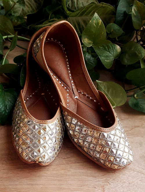 Gold Handcrafted Cotton Leather Juttis