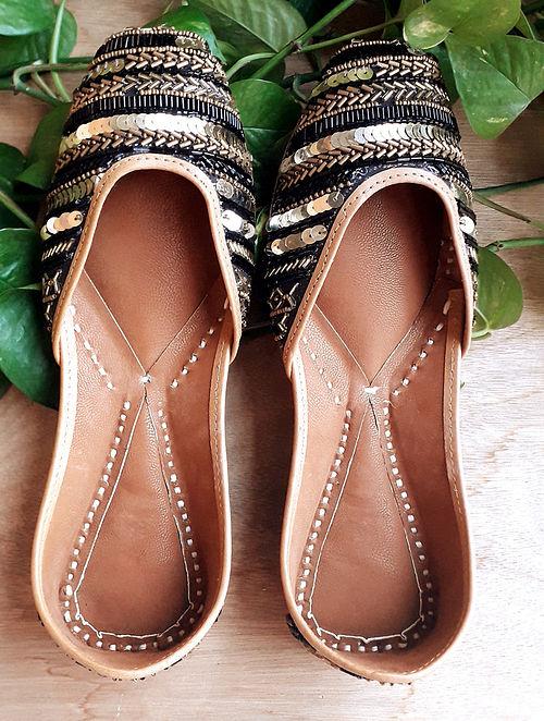 Black Handcrafted Satin Silk Leather Juttis