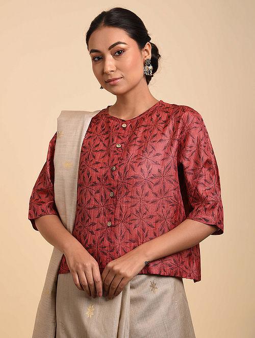 Red-Black Block Printed Tussar Silk Blouse