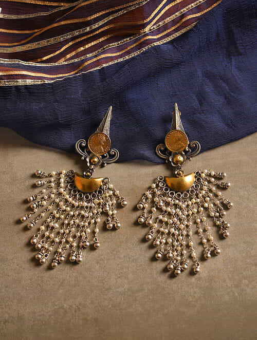 Dual Tone Silver Earrings with Pearls