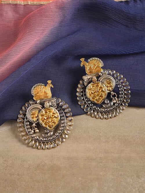 Dual Tone Silver Earrings with Quartz