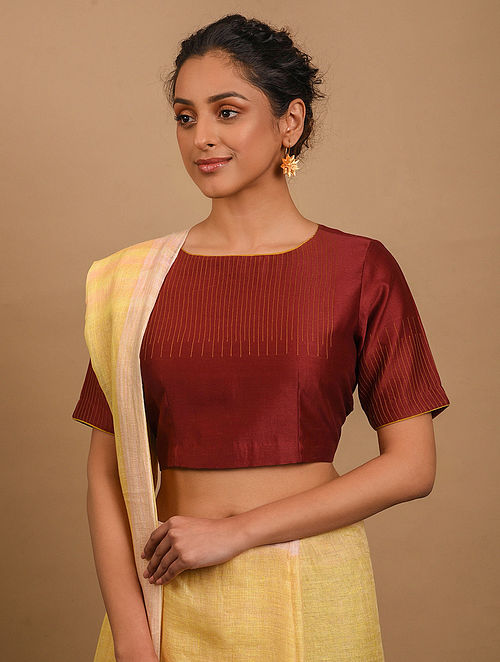 Red Chanderi Blouse