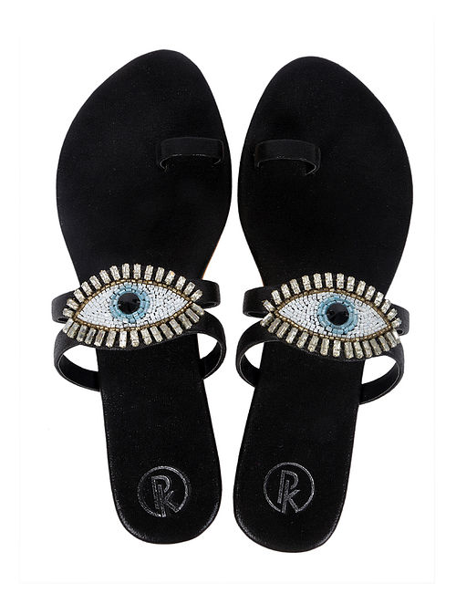 Black Handcrafted Faux Leather Flats