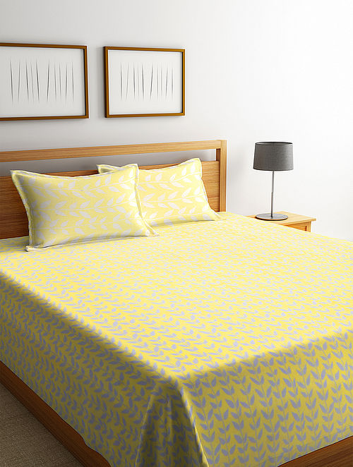 Yellow Cotton Double Bed Cover with 2 Pillow Covers (L-100in, W- 90in)