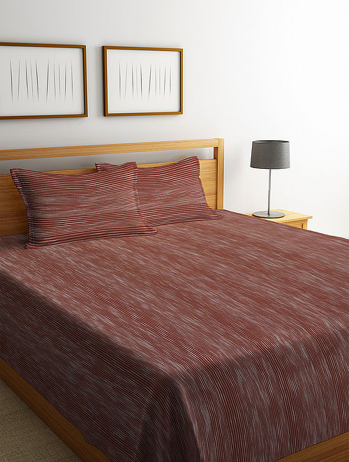 Brown Cotton Double Bed Cover with 2 Pillow Covers (L-100in, W- 90in)