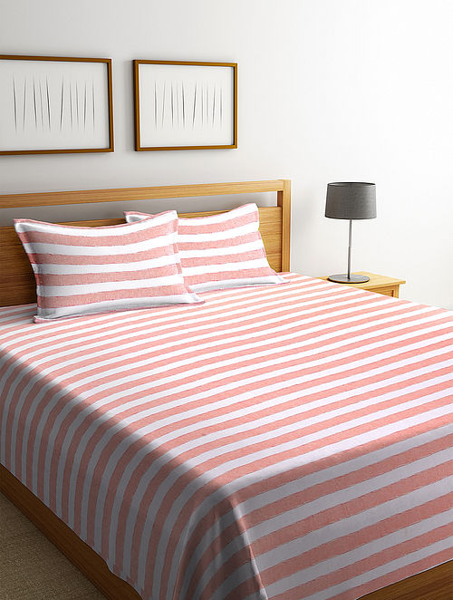 Orange Cotton Double Bed Cover with 2 Pillow Cover (L-100in, W- 90in)