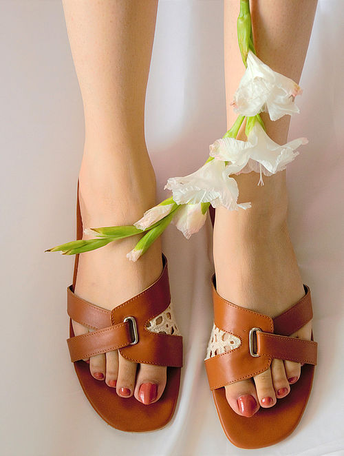 Tan Hndcrafted Flats