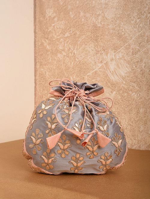 Grey Handcrafted Silk Potli