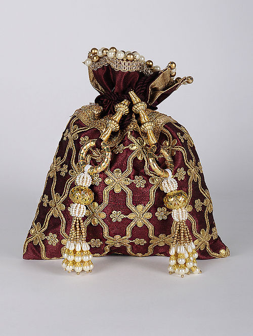 Maroon Gold Handcrafted Embroidered Dupion Silk Potli