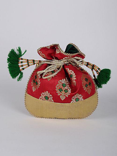 Red Green Handcrafted Brocade Silk Potli