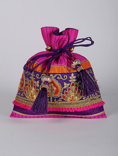 Pink Multicolored Handcrafted Cotton Satin Potli