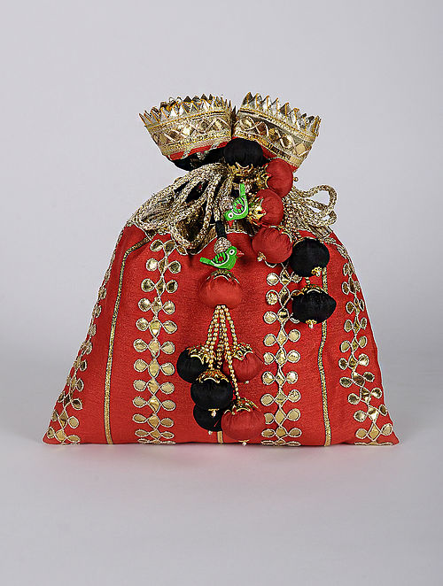 Red Gold Handcrafted Silk Potli with Gotapatti
