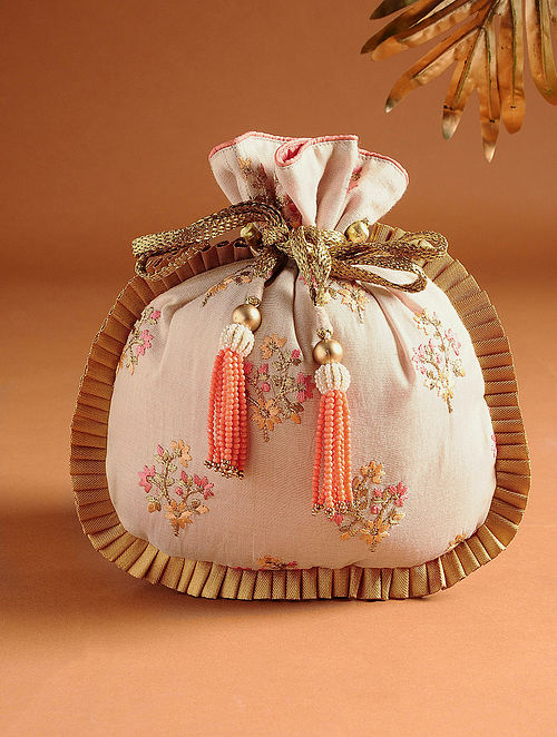 Baby Pink Hand Embroidered Tissue Potli