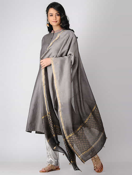 Kashish Khari-printed Chanderi Dupatta with Zari Border
